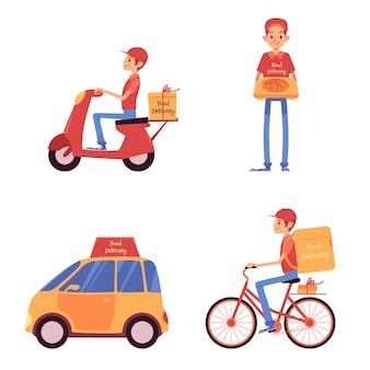 Conjunto de entregadores de pé e andando em veículos estilo cartoon
