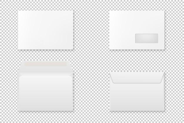 Conjunto de envelope realista em branco. .