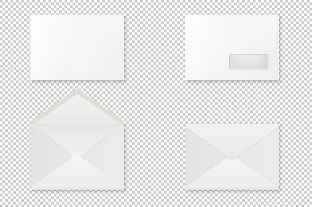 Conjunto de envelope realista em branco. . Vetor Premium