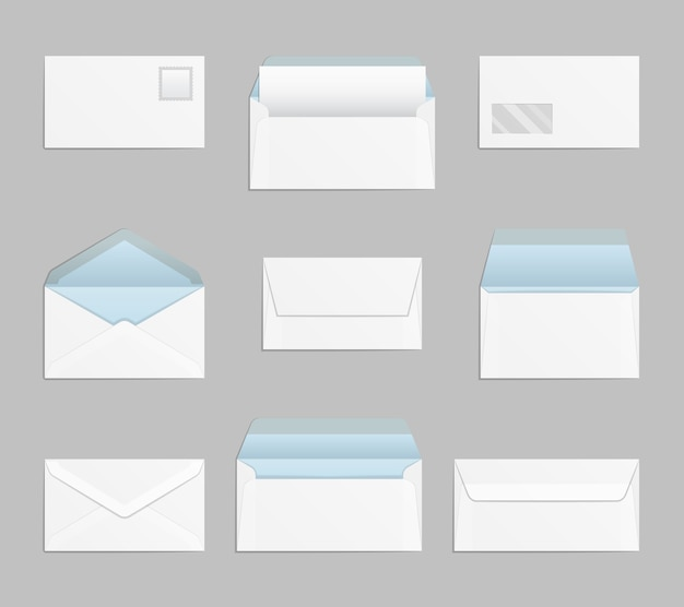 Conjunto de envelopes abertos e fechados. papel de carta, correio e mensagem