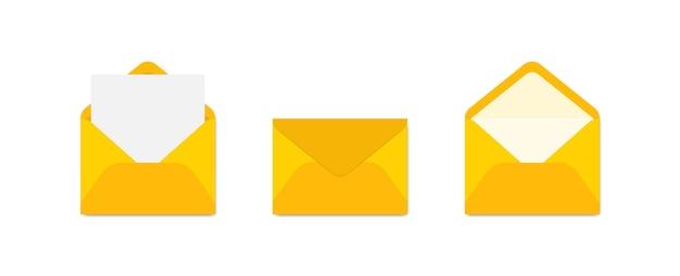 Conjunto de envelopes amarelos em vistas diferentes.
