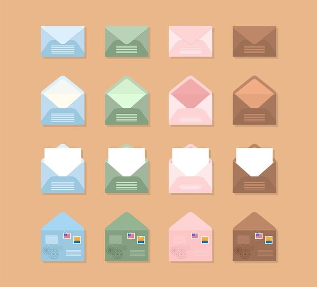 Conjunto de envelopes azuis, rosa, verdes e marrons em diferentes pontos de vista.