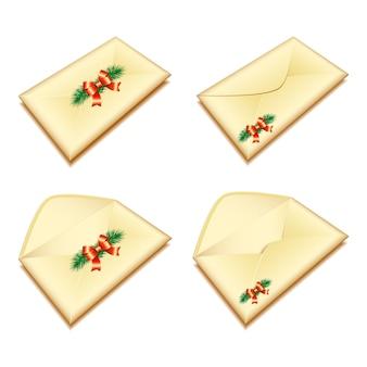 Conjunto de envelopes com selo de natal. ilustração
