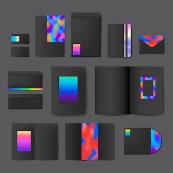 Conjunto de envelopes de padrão holográfico Vetor grátis