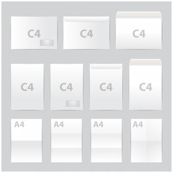 Conjunto de envelopes de papel em branco. formato