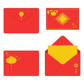 Conjunto de envelopes vermelhos com lanternas para o ano novo chinês isolado em um branco