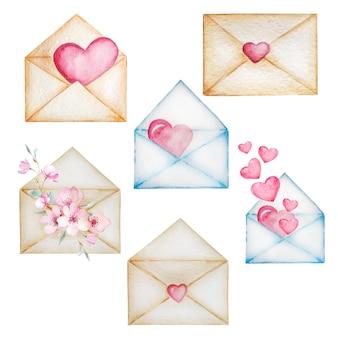 Conjunto de envelopes vintage bege e azuis com corações e flores.