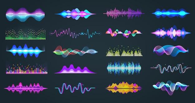 Conjunto de equalizador de áudio isolado ou frequência de voz Vetor Premium
