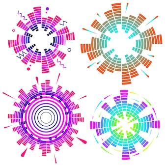 Conjunto de equalizador de néon circular geométrico. ondas sonoras de áudio redondas eq coloridas.
