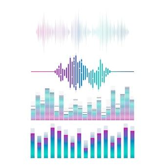 Conjunto de equalizador de onda sonora