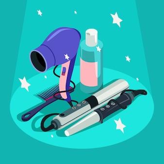 Conjunto de equipamento de cabeleireiro secador de cabelo, modelador