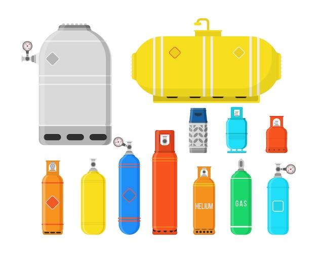 Conjunto de equipamento de campismo de alta pressão de gás comprimido liquefeito para armazenamento de combustível. cilindros de gás diferentes isolados no fundo branco. ilustração colorida em estilo simples.