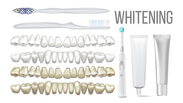 Conjunto de equipamento de clareamento de dentes claros com escova