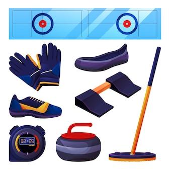 Conjunto de equipamento de curling e acessórios esportivos