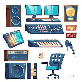 Conjunto de equipamento de gravação de som de estúdio