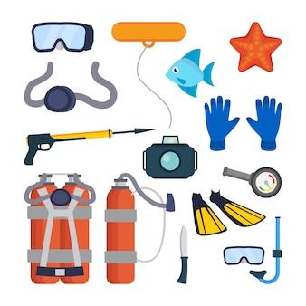Conjunto de equipamento de mergulho