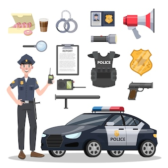 Conjunto de equipamento de policial.