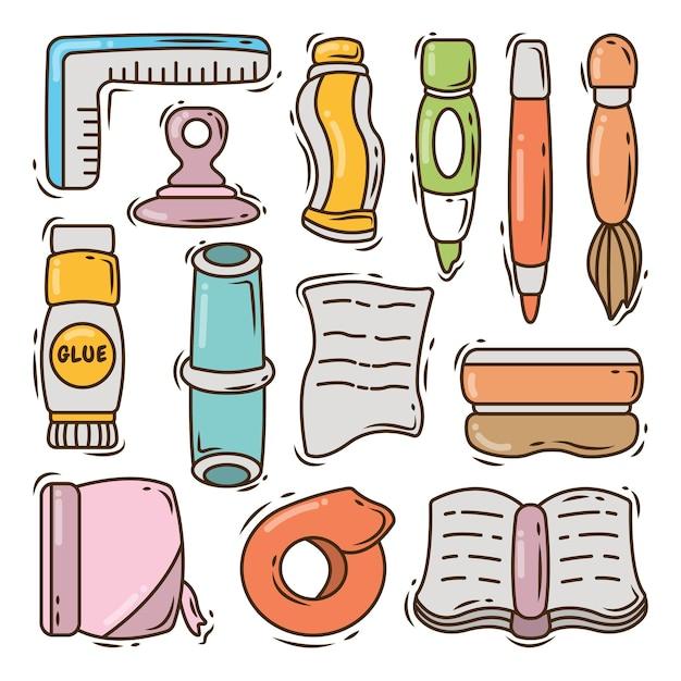 Conjunto de equipamento escolar desenhado à mão estilo doodle