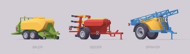 Conjunto de equipamentos agrícolas