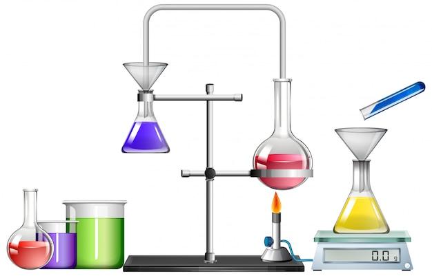Conjunto de equipamentos científicos