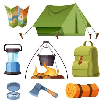 Conjunto de equipamentos de acampamento e conjunto de desenhos animados