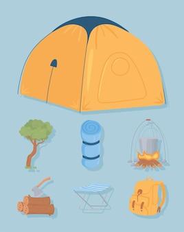 Conjunto de equipamentos de acampamento
