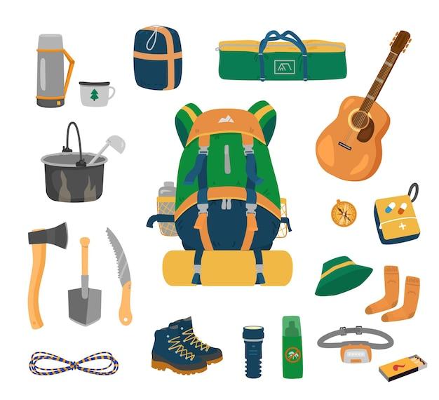 Conjunto de equipamentos de acampamento.