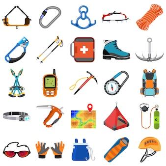 Conjunto de equipamentos de alpinismo, estilo simples