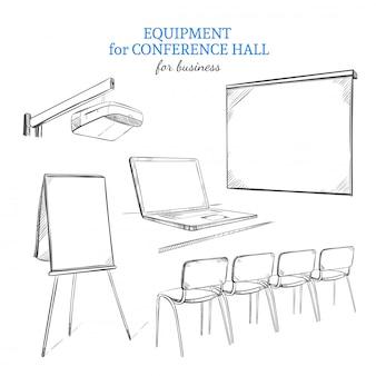 Conjunto de equipamentos de apresentação de negócios desenhados à mão