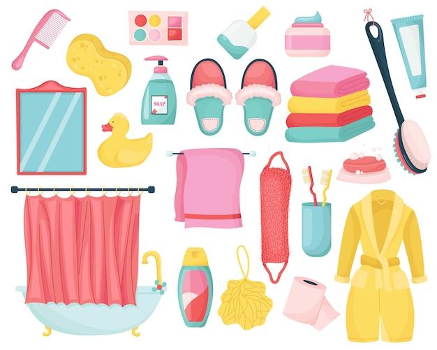 Conjunto de equipamentos de banheiro. coleta de higiene para lavar e limpar.