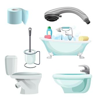 Conjunto de equipamentos de banheiro isolado no branco