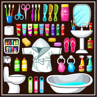 Conjunto de equipamentos de banheiro.
