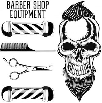 Conjunto de equipamentos de barbeiro e crânio de um hipster