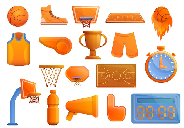 Conjunto de equipamentos de basquete, estilo cartoon