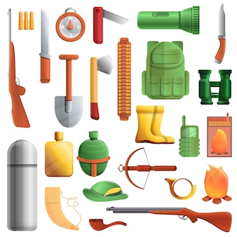 Conjunto de equipamentos de caça, estilo cartoon