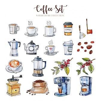 Conjunto de equipamentos de café desenhado à mão em aquarela e linha preta