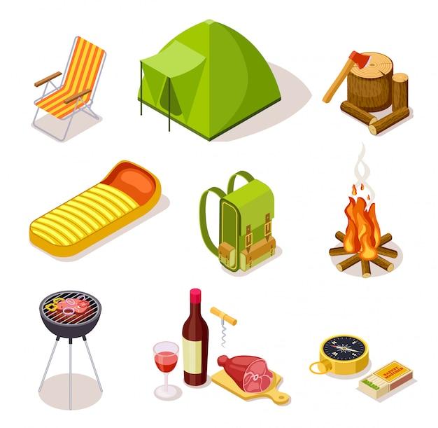 Conjunto de equipamentos de camping isométrico
