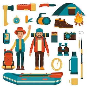 Conjunto de equipamentos de camping, pesca e caminhada