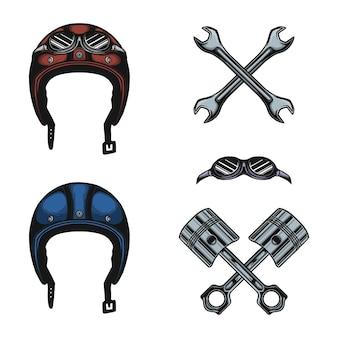 Conjunto de equipamentos de capacete de motocicleta e vetor