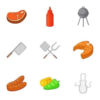 Conjunto de equipamentos de churrasco, estilo cartoon