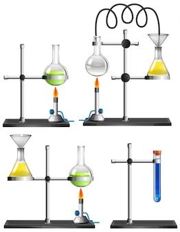 Conjunto de equipamentos de ciência em branco