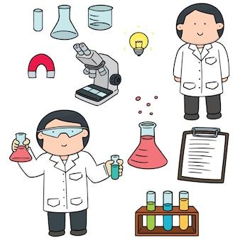 Conjunto de equipamentos de cientista e laboratório