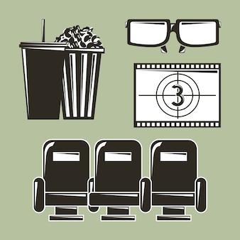 Conjunto de equipamentos de cinema filme filme