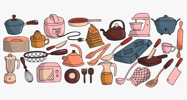 Conjunto de equipamentos de cozinha de vetor