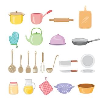 Conjunto de equipamentos de cozinha, utensílios de cozinha, louças