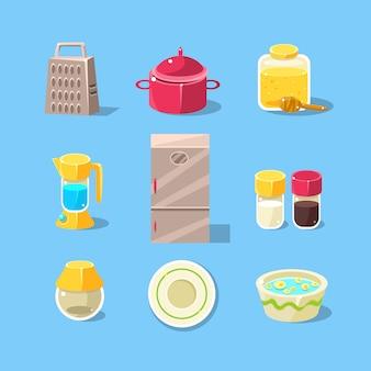 Conjunto de equipamentos de cozinha