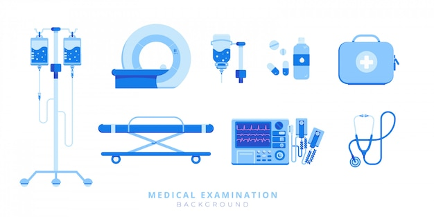 Conjunto de equipamentos de cuidados médicos de emergência de maca, desfibrilador, injeção, ressonância magnética, estetoscópio, kit de primeiros socorros isolado Vetor Premium