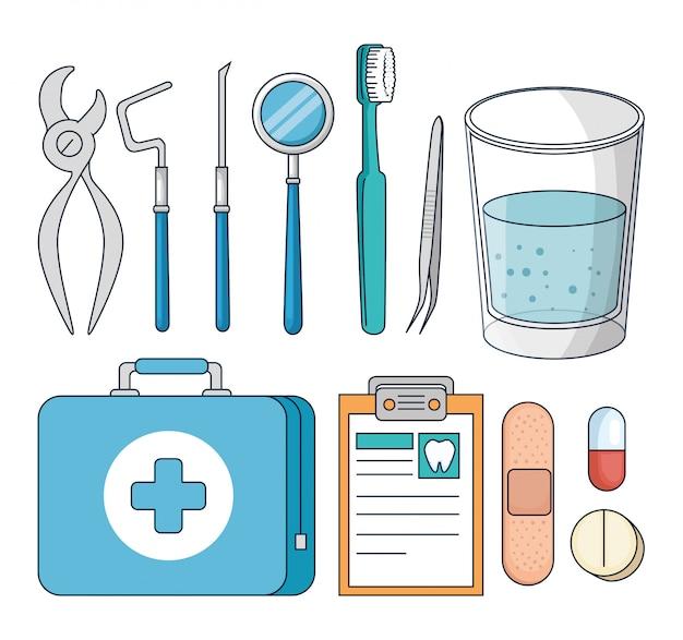 Conjunto de equipamentos de dentes para tratamento de medicina dentária