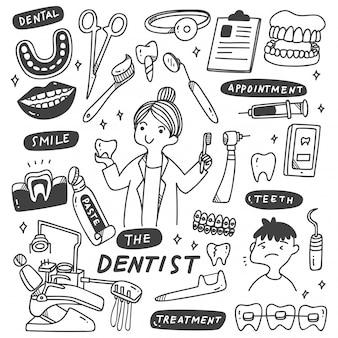 Conjunto de equipamentos de dentista doodle