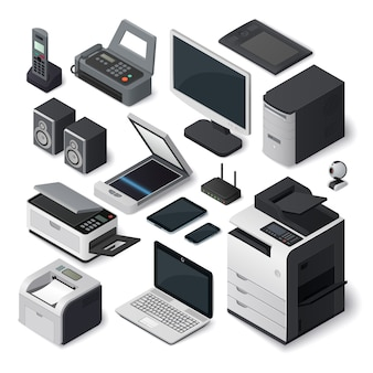 Conjunto de equipamentos de escritório isométrico.